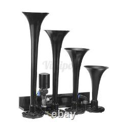 1.5 Gallon 4 Trumpet Air Horn Air Compressor & Tank Gauge System For Train Truck