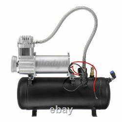 1.5 Gallon 4 Trumpet Air Horn Tank Compressor Gauge System For Train Truck Boat