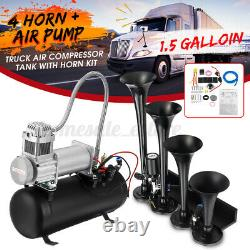 1.5 Gallon 4 Trumpet Air Horn Tank Compressor Gauge System Train Truck Boat 12V