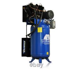 10HP Air Compressor Quiet 3 Phase 230V 80 Gallon Tank Vertical