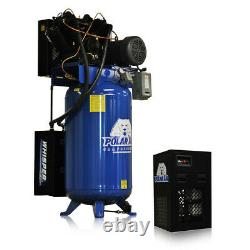 10HP Air Compressor with 58 CFM Dryer Single Phase 80 Gallon Tank Vertical