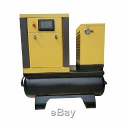 10HP Rotary Screw Compressor With Two 40 Gallon Tank Air Dryer 230V Single Phase