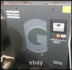10hp GA7 Atlas Copco rotary screw air compressor, refrigerated dryer, 240 gallon