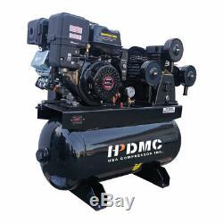 13HP Gas Engine Piston Air Compressor 3 Cylinder 30 Gallon 420CC 125PSI 43.5cfm