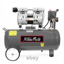 1hp Ultra Quiet Air Compressor Tank 8 Gallon Oil-Free with Air Filter Regulator