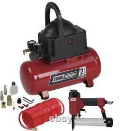 2 Gallon Electric Portable Air Compressor Combo Kit 100 PSI 0.3 HP Oil Free Pump