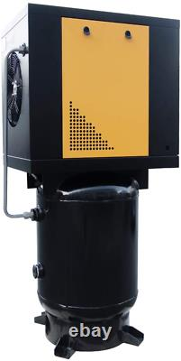 230V 5.5HP Rotary Screw Air Compressor 1 Phase with Vertical 60 Gallon ASME Tank