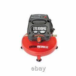 3 Gallon Air Compressor 100 PSI Oilless Portable Pancake 1/3 Horsepower Gauge