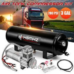 3 Gallon Air Tank 200 PSI Compressor Onboard For Train Truck Boat Horn RV