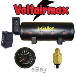 3 Gallon Air Tank 8Port Air Ride Suspension Compressor System Gauge Press Switch