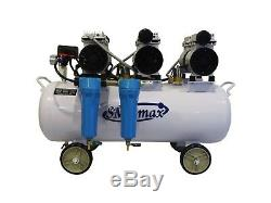 3HP, 18 Gallon, Oil Free & Noiseless Dental Air Compressor with 2 stage dryer