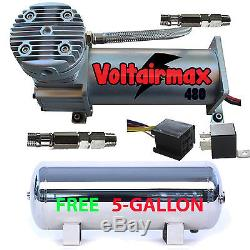 480C Air Compressor Ride Kit 200psi rated with FREE 5 Gallon Stainless Air Tank