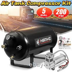 5 Gallon 12V Horn Air Tank 200 PSI Compressor Onboard System for Train Truck RV