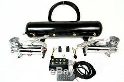 5 Gallon Tank Dual 480 Compressors Black, Air Ride Kit No Bags