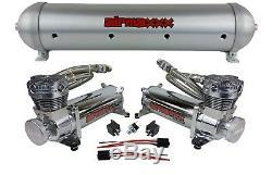 5 gallon aluminum air tank brushed & dual air compressors 480 chrome airmaxxx