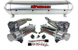 5 gallon aluminum air tank raw finish & dual air compressors 480 chrome airmaxxx