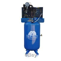 5HP Air Compressor 2 Stage Single Phase 80 Gallon Tank Vertical Air Compressor