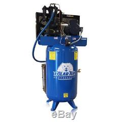 5HP Single Phase 2 Stage 80 Gallon Tank Vertical Air Compressor Quiet