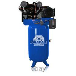 7.5 HP Air Compressor, Pressure Lubricated, 2 Stage, Single Phase, V4, 80 Gallon