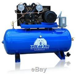 7.5 HP V4 Single Phase 80 Gallon Tank Horizontal Air Compressor