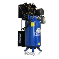 7.5HP Quiet Air Compressor Pressure Lubricated 2 Stage Single Phase V4 80 Gallon