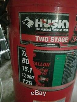 7hp Husky 80 gallon 175 psi air compressor 230v. Barely used. Great shop comp