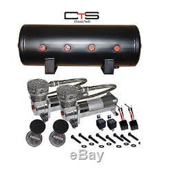 Air Bag Suspension Compressors & 5 Gallon Tank Air Max 480 Pewter 150psi Kit