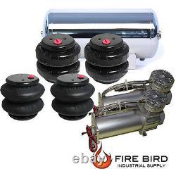 Air Ride Suspension Parts Dual Air Compressor Four Air Bags 5 Gallon ss Tank