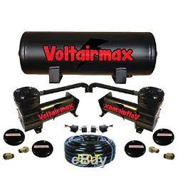 AirMax 480 Dual Black Compressors 5 Gallon Tank Air Bag Suspension 200psi 5 port