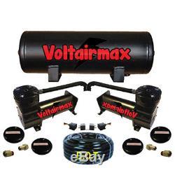AirMaxxx 480 Dual Black Compressors 5 Gallon Tank Airhose relays 200psi Kit