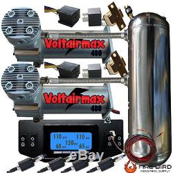 AirRide Dual Compressor VOLTAIR DC100 Position Digital Gauge Controller 5 Gallon