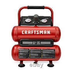 CRAFTSMAN Air Compressor 2 Gallon Portable Twin Tank 1/3 HP Oil-Free Max 125 PSI