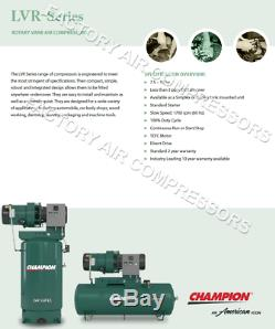 Champion LVR05 Rotary Air Compressor 100% Duty Cycle 7.5 HP, 1 Phase 80 Gallon