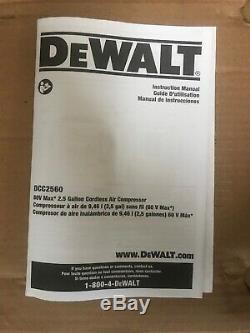 DeWalt DCC2560T1 60V MAX 2.5 Gallon Cordless Compressor Kit FAST DISCREET SHIP