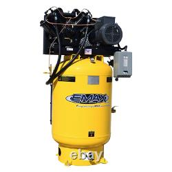 EMAX Industrial Plus Silent 10-HP 120-Gallon Two-Stage Air Compressor 208/2