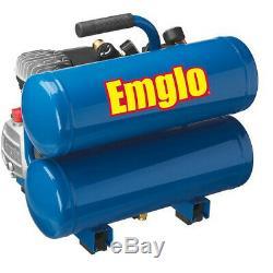 Emglo 1.1 HP 4 Gallon Oil-Lube Twinstack Air Compressor E810-4VR Reconditioned