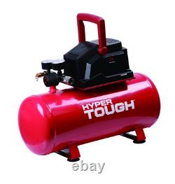 HyperTough 3 Gallon Oil Free Portable Air Compressor, 100PSI, Red