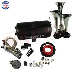 Loud Triple Trumpet Air Horn Kit With Light-Duty Air Compressor For Car Truck RV