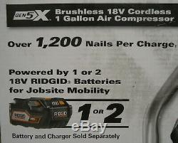 (MA2) Ridgid R0230 Gen5X Brushless 18V Cordless 1 Gallon Compressor BARE TOOL