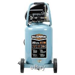 McGraw 20 gallon 1.6 HP 135 PSI Oil Lube Vertical Air Compressor Shop/Garage