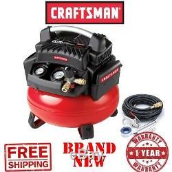 New CRAFTSMAN 6gal Gallon 1.1 HP Oil-Free PANCAKE AIR COMRESSOR Portable 150 PSI