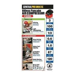 Pancake Air Compressor Oil Free 3 Gallon For Inflation Stapling Brad Nailing New
