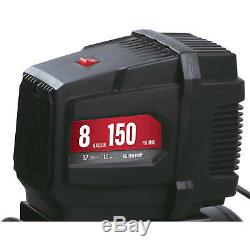 Portable Air Compressor 8-Gallon Oil Free Removable Handle Rubber Wheels 120V