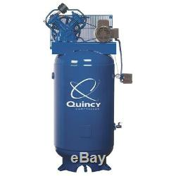 Quincy 5HP 2-Stage 80-Gallon Vertical Air Compressor, Made in USA #8805-41DS
