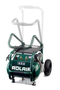 Rol-Air VT25BIG 2.5 HP (115V) 6.5 CFM@90PSI, 5.3 Gallon Cart Compressor withFoldin