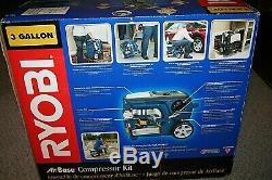 Ryobi 3 Gallon Electric Compressor Nailer Tool Combo Kit YN801CFK