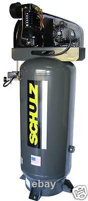 SCHULZ AIR COMPRESSOR, 5HP 80-Gallon 20 CFM TWO STAGE 1PH NEW