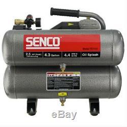 SENCO 2.5 HP 4.3 Gallon Oil-Lube Twin Stack Air Compressor PC1131 New