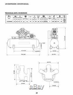 Schulz Air Compressor 10hp 120 Gallons Horizontal Tank 208-230-460 Volts