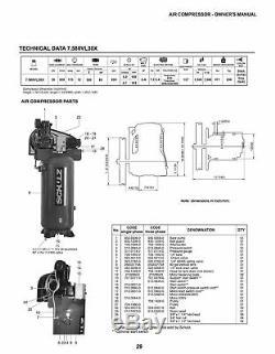 Schulz Air Compressor, 7.5HP 30 CFM 80 GALLON 175 PSI 230 1 PH NEW